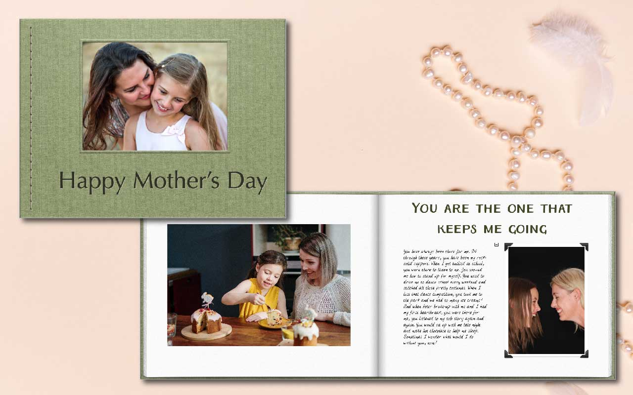 Mothers day gift for mom. It's a photo book made with pictures and and little notes for mom.
